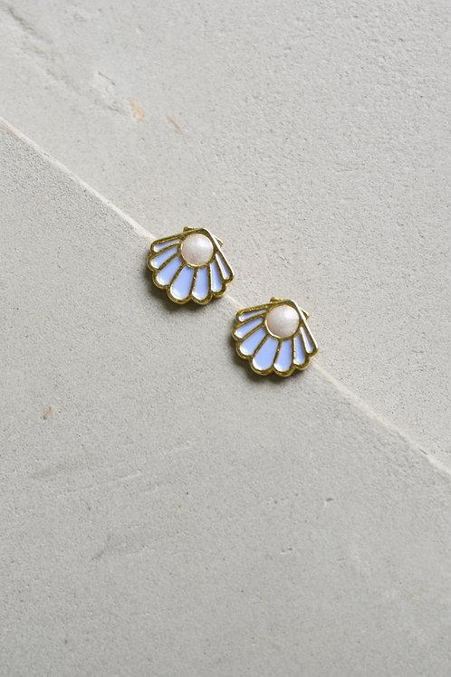 Purple Seashell Earrings