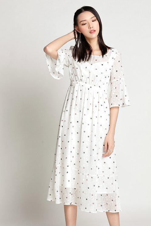 Trina Dotted Chiffon Dress