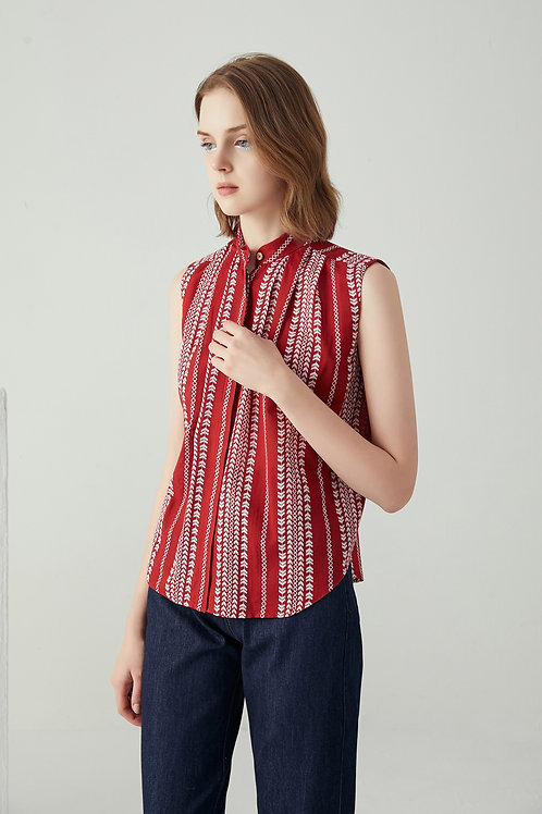 Amelia Button Up Top - Red