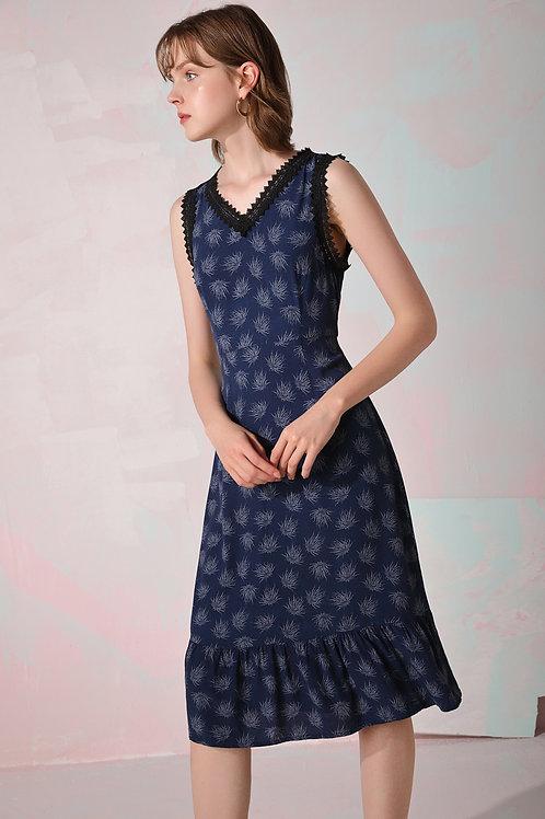 Lace Sleeve Ruffle Hem Midi Dress