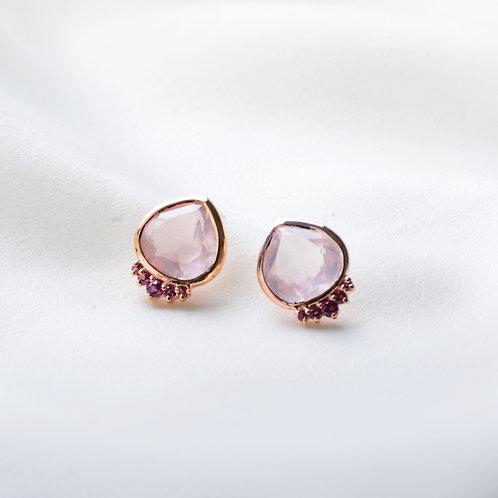 Expanded Rose Quartz with Garnet Dot Earrings
