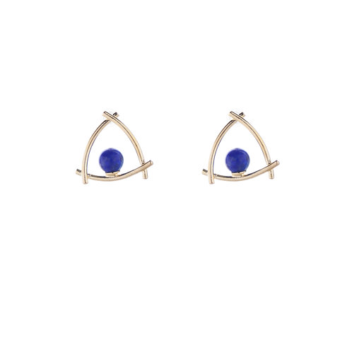 Enclose a Navy Stone Earrings