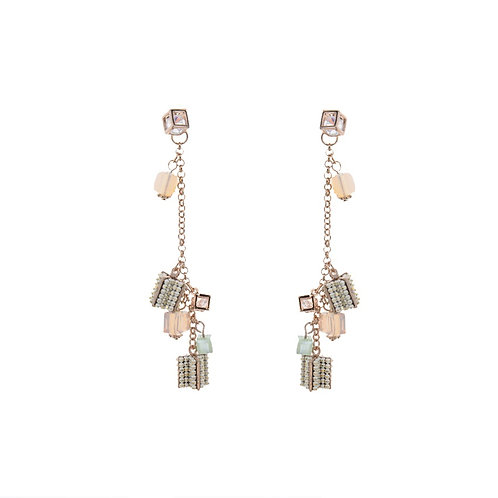 Square Dangling Earrings - Beige