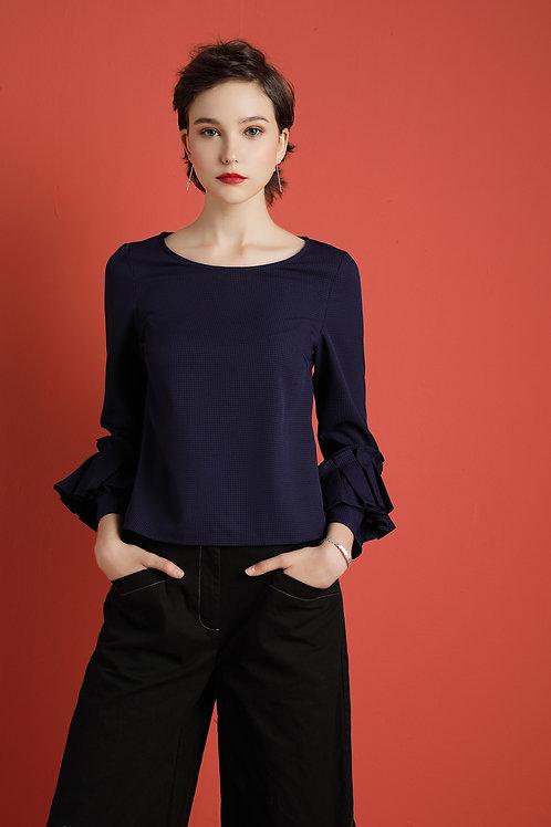 Cynthia Pleated Sleeve Top - Blue