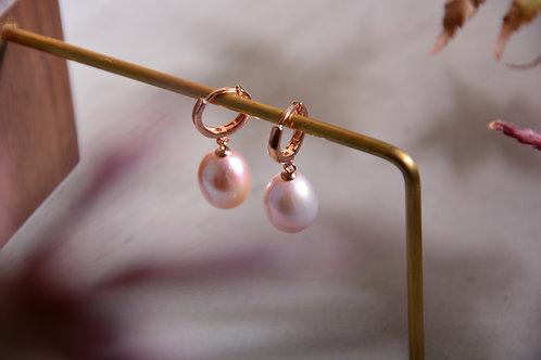 11mm Pink Potato Pearl Drop Earrings