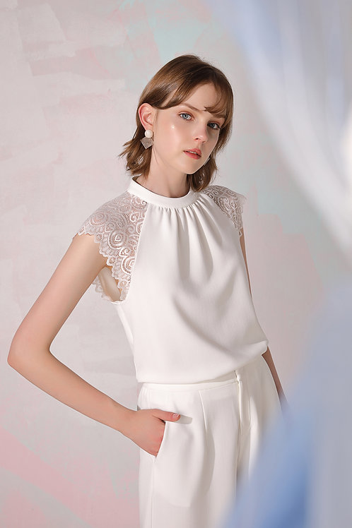 Gretta Lace Sleeve Top - White
