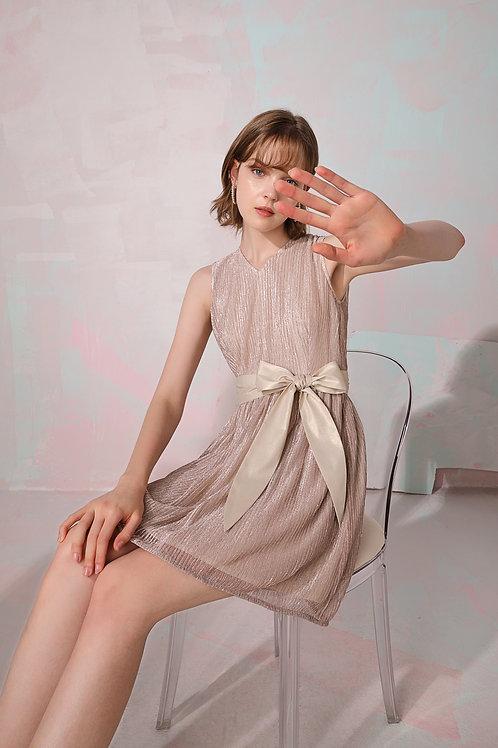 Bella V-Neck Shiny Dress