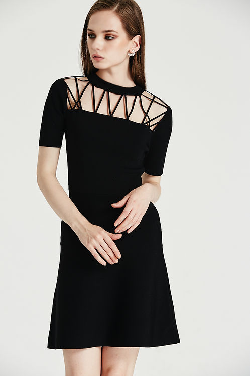 Trudy Illusion Neckline Black Dress