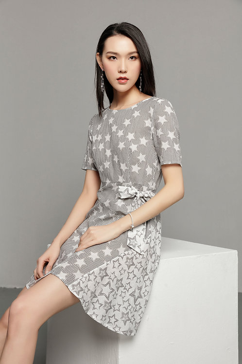 Cherish Star Print Cotton Dress