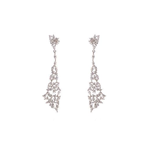 Silver Cyrstal Dangling Earrings