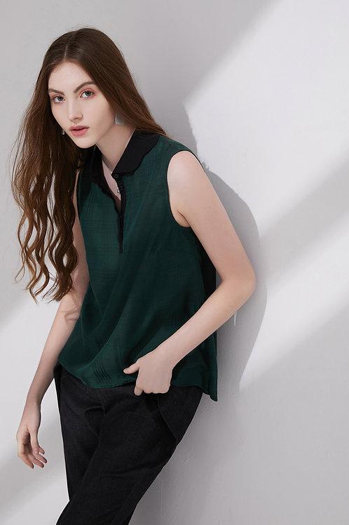 Tilda Wave Shaped Collar Top Green