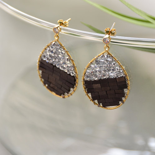 Grey Stone with Crystal Pear Earrings