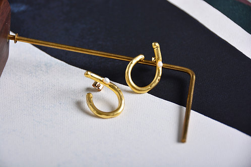 Open Pear with a Pearl Earrings