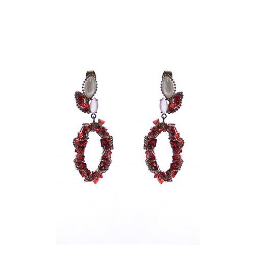 Burgundy Crystal O Earrings