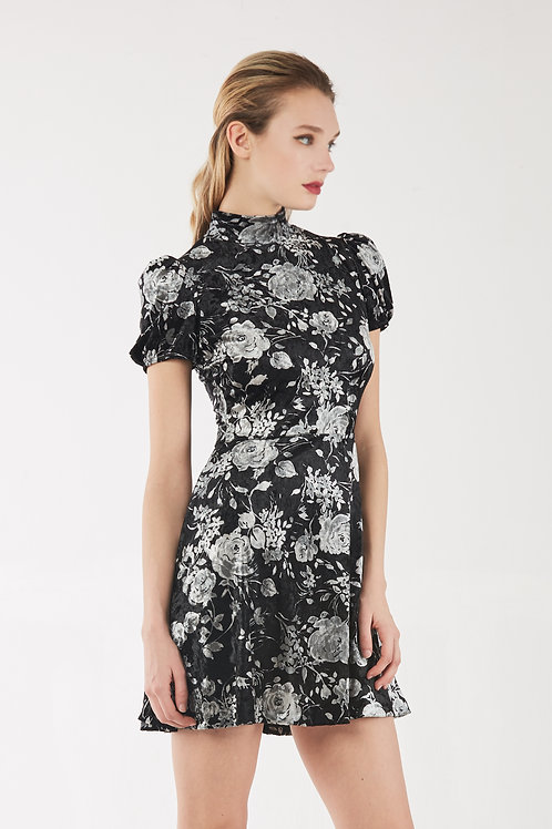 White Rose Printed Short Sleeve Dress