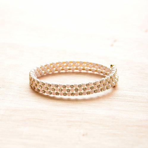 Pearl Crystal Three Circle Bracelet
