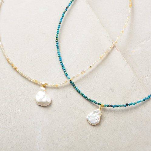 Pearl on Turquoise Beads Necklace