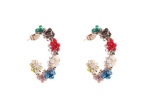 Colorful Flower Curled Earring
