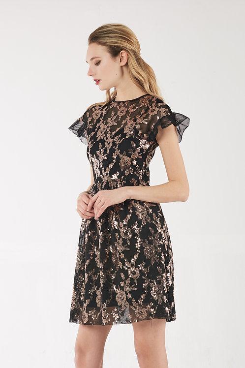 Golden Lace Party Dress