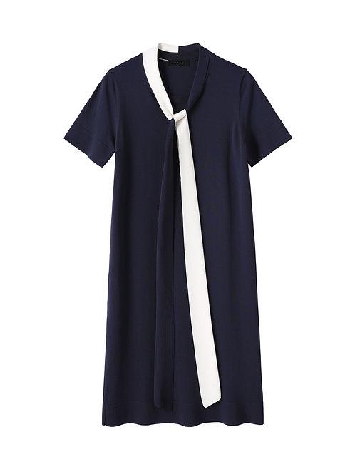 Contrast Ribbon Straight Cut Dress
