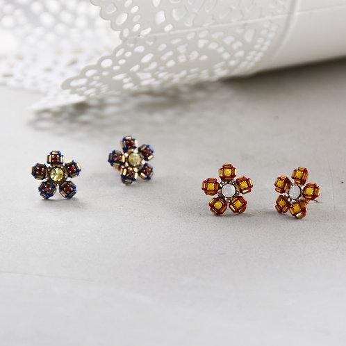 Chess Pattern Flower Earrings - Yellow