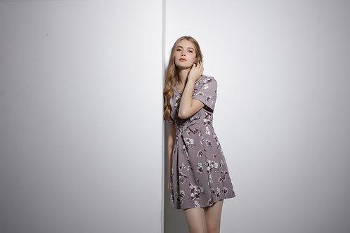 Justine V-neckline Ribbon Dress - Pink