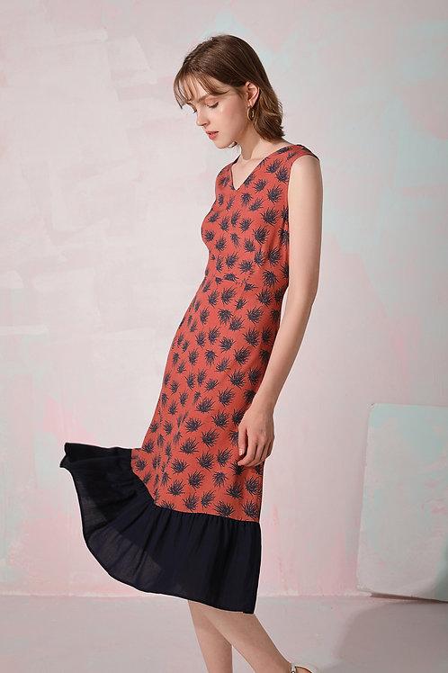Gretta Patched Ruffed Dress