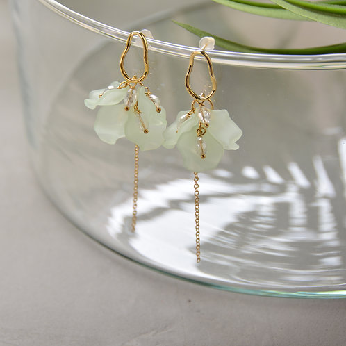 Mint Acrylic Petal Earrings