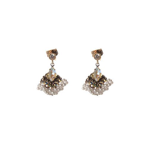 Crystal round Stone Drop Earrings