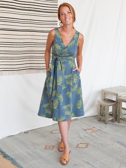 Ana Wrap Dress Grey Palms