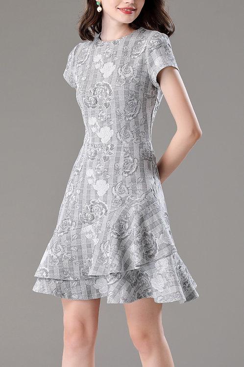 Rose on Chess Sleeve on Dress