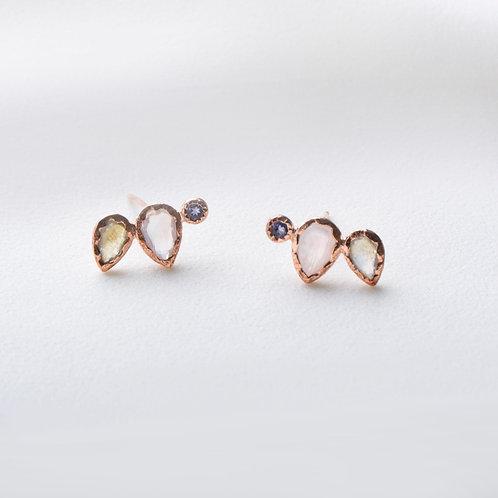 Pear and Dot Earrings - Moon & White