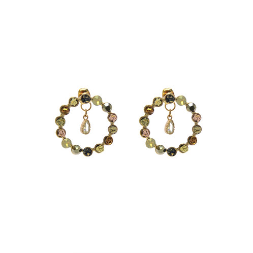 Open Circle Mix Color Earrings