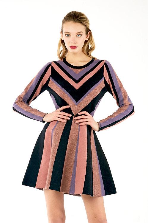 Black Pink Purple Patch Dress