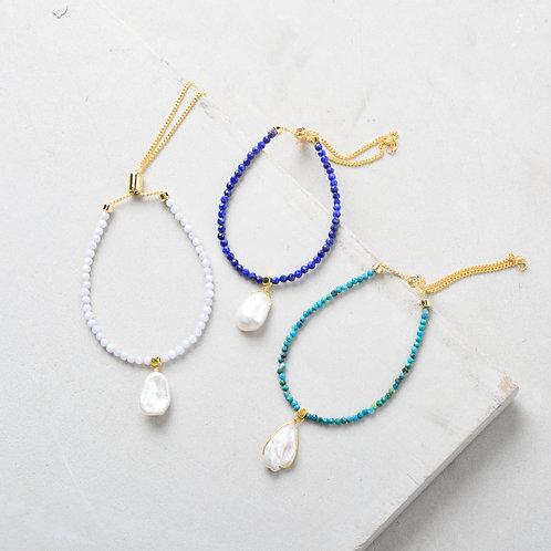 Pearl on White Beads Bracelet