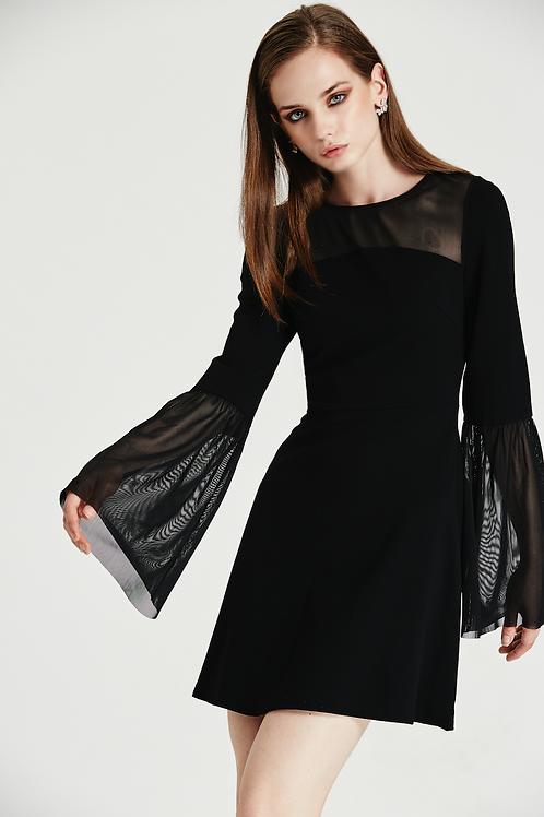 Flare Sleeve Black Dress
