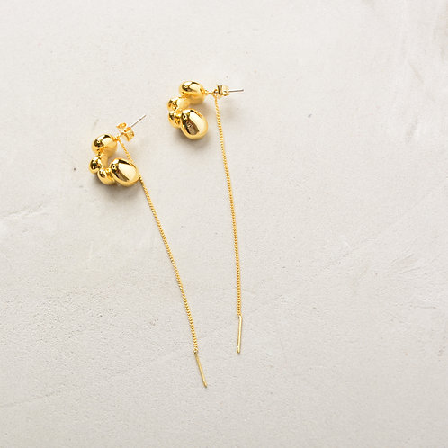 Melted Gold Drop with Long Chain Earrings
