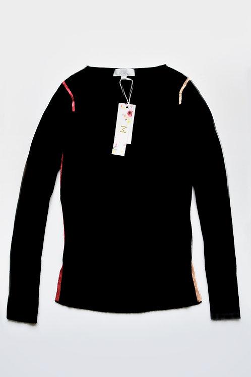 Color Shoulder Stripe Basic Knit