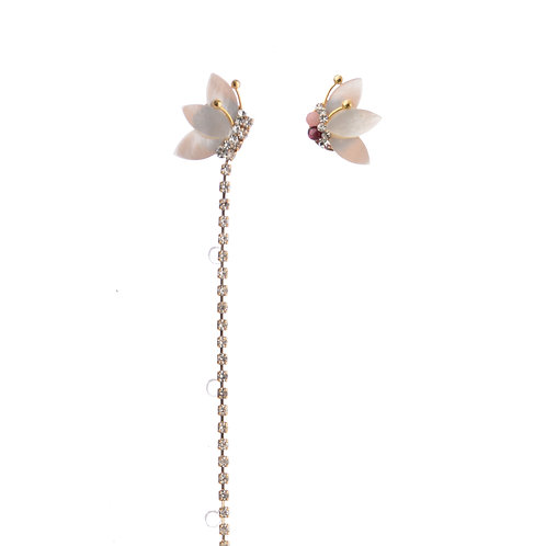 Butterlfy with Long Crystal Earrings