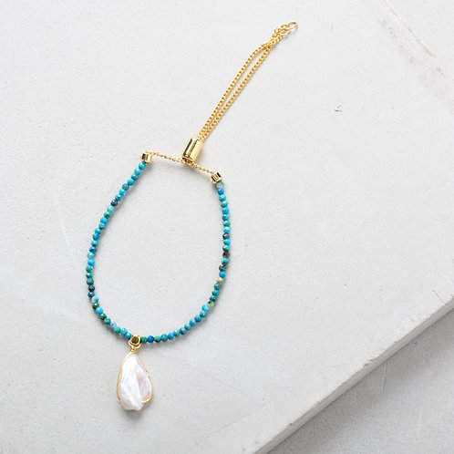 Pearl on Turquoise Beads Bracelet