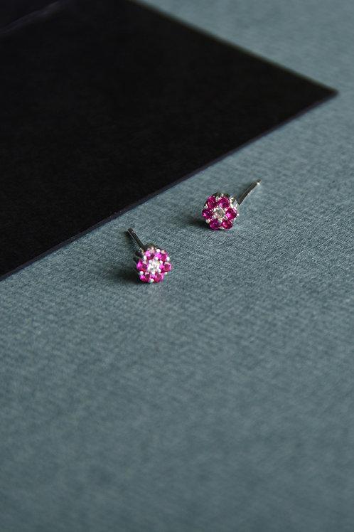 Circle Purple Crystal Earrings