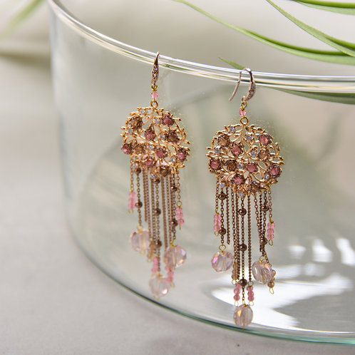 Crystal on Branches Tassel Earrings