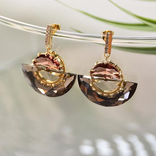 Flip the Half Circle Crystal Earrings