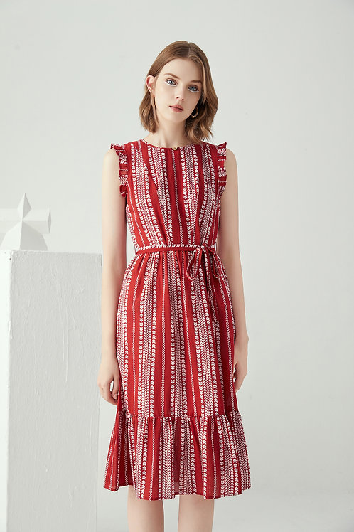 Amellia Hem Midi Dress-Red