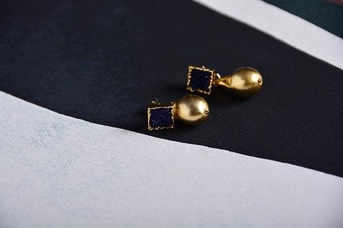 Labodarite with Gold Drop Earrings