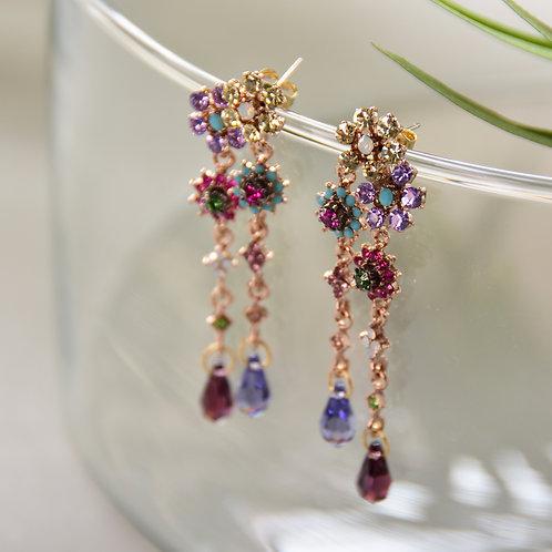 Mixed Crystal Flower Drop Earrings