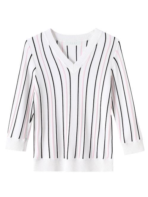 Jade Stripe White Top