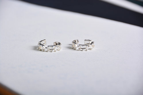Aligned Rectangle in a Circle Earrings