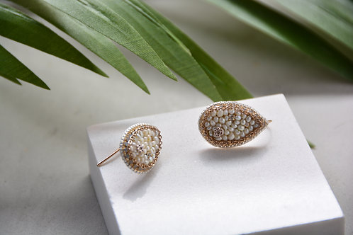 White Beads on Pear Earrings