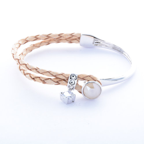 Exie Round Faceted Leather Bracelet